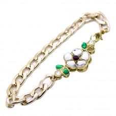 White and Green Stone Studded Bracelet Rakhi