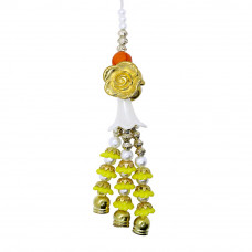 Yellow Floral Pearls Beads Lumba Rakhi
