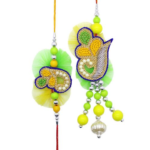 Yellow and Green Couple Rakhi